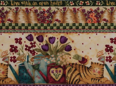 Garden Buzz fabric, cat