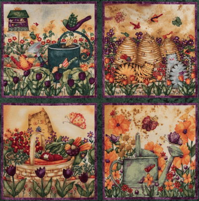 Garden Buzz fabric, small panels